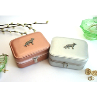 German Shepherd Design Rose Gold or Silver Travel Jewellery Box