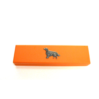 Irish Setter Motif on Apricot Wooden Pen Box with 2 Pens