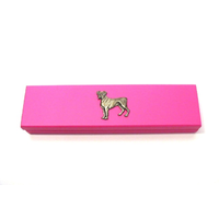 Boxer Dog Motif on Pink Wooden Pen Box with 2 Pens