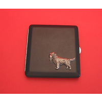 Golden Retriever Dog Motif on Black Faux Leather Cigarette Case