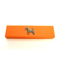 Airedale Terrier on Apricot Wooden Pen Box with 2 Pens