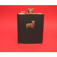 Corgi Dog 6oz Black Leather Hip Flask Dog Gift