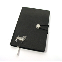Pug Dog A6 Black Journal Notebook Dog Gift