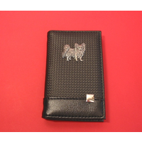 Papillon on Faux Carbon Fibre Black Note book & Pen