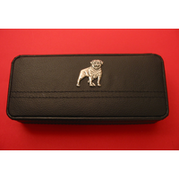 Rottweiler Motif on Black Faux Leather Pen Box With 2 Pens