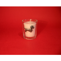 Dandie Dinmont Motif On Glass Votive Candle Holder Xmas Gift