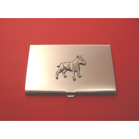 English Bull Terrier Chrome Plated Card Holder Xmas Gift