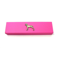 Weimaraner Dog Motif on Pink Wooden Pen Box with 2 Pens