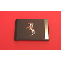 Rearing Horse Pewter Motif on Black Card Holder
