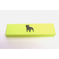 Staffordshire Bull Terrier Motif on Lime Wooden Box with 2 Pens