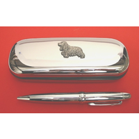 Cocker Spaniel Chrome Pen Box & Pen Stationery Gift
