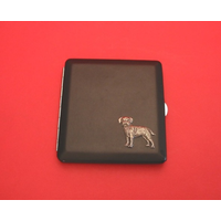 Border Terrier Motif on Black Faux Leather Cigarette Case