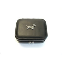 Dandie Dinmont Design Small Black Travel Jewellery Box