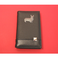 Corgi on Faux Carbon Fibre Black Note book & Pen