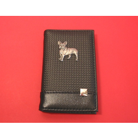 French Bulldog on Faux Carbon Fibre Black Note book & Pen