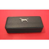 Springer Spaniel Motif on Black Faux Leather Pen Box With 2 Pens