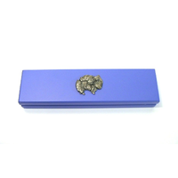 Pomerainian Dog on Violet Blue Wooden Pen Box with 2 Pens