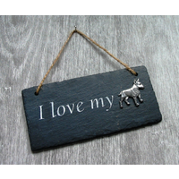 English Bull Terrier Design Slate Plaque Valentine Xmas Gift