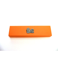 Shih Tzu Dog Motif on Apricot Wooden Pen Box with 2 Pens