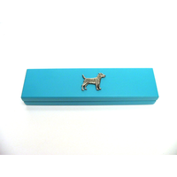 Patterdale Motif on Turquoise Wooden Pen Box with 2 Pens
