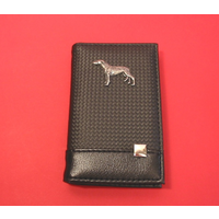 Greyhound on Faux Carbon Fibre Black Note book & Pen