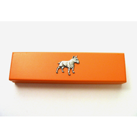 English Bull Terrier on Apricot Wooden Pen Box with 2 Pens