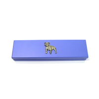 Staffordshire Bull Terrier on Violet Blue Wooden Pen Box W/pens