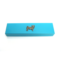 Pug Dog Motif on Turquoise Wooden Pen Box with 2 Pens