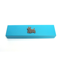 Scottish Terrier Motif on Turquoise Wooden Pen Box with 2 Pens