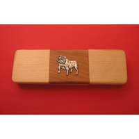 English Bulldog on Wooden Pen Box with 2 Pens