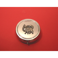 Chihuahua Pewter Motif On Round Chrome Mint / Pill Box
