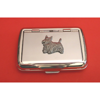 Scottish Terrier Motif on Polished Stainless Steel Tobacco Tin