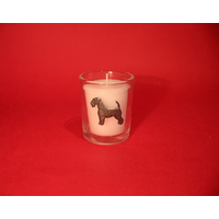 Airedale Terrier Motif On Glass Votive Candle Holder Xmas Gift