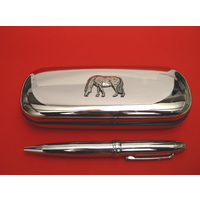 Grazing Pony Chrome Pen Box & Pen Stationery Gift