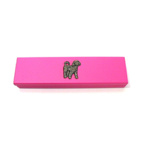 Cockapoo Dog Motif on Pink Wooden Pen Box with 2 Pens