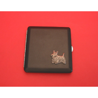 Scottish Terrier Motif on Black Faux Leather Cigarette Case