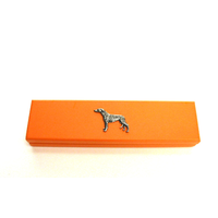 Greyhound Motif on Apricot Wooden Pen Box with 2 Pens