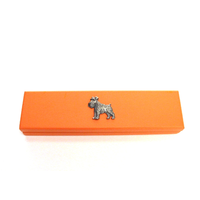 Miniature Schnauzer on Apricot Wooden Pen Box with 2 Pens