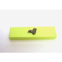 Dachshund Motif on Lime Wooden Pen Box with 2 Pens