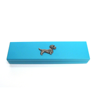 Dandie Dinmont Motif on Turquoise Wooden Pen Box with 2 Pens