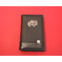 Pomeranian on Faux Carbon Fibre Black Note book & Pen