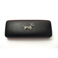 Dandie Dinmont Pewter Motif on Black Faux Leather Glasses Case