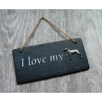 Greyhound Design Slate Plaque Valentine Christmas Gift