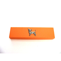 Chihuahua Dog Motif on Apricot Wooden Pen Box with 2 Pens