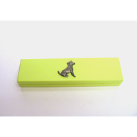 Jack Russell Motif on Lime Wooden Pen Box with 2 Pens