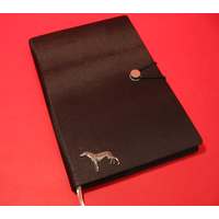 Greyhound A5 Black Journal Notebook Dog Gift