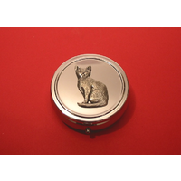 Short Haired Cat Pewter Motif On Round Chrome Mint / Pill Box