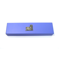 Yorkshire Terrier Motif on Violet Blue Wooden Pen Box with 2 Pen