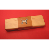 Patterdale Terrier on Wooden Pen Box with 2 Pens