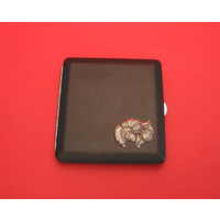 Pomeranian Motif on Black Faux Leather Cigarette Case
